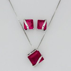 Jewelry - Genuine Ruby Necklace and Earrings Set